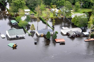 An aerial view taken from a Coast Guard helicopter showing the continuing effects of flooding caused by Hurricane Joaquin in the area of the Black River, in Sumpter County, S.C., Oct. 6, 2015.