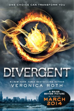 Book cover promoting movie release of Divergent