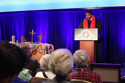 The Rev. Dr. William Barbour opens the Ecumenical Advocacy Days Weekend on Friday evening.