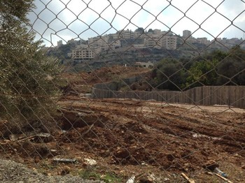 Homes in the town of Beit Jala, now cut off from land they own by a new stretch of the separation wall the Sabeel Witness Visit team saw under construction.
