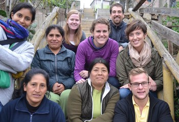 Blake Collins, right front, and other 2013-2014 Young Adult Volunteers, with artisan workers partnering with the Joining Hands Network in Peru. Blake is now the YAV program's mission engagement specialist, connecting supporters and congregations with transformational giving and partnership.