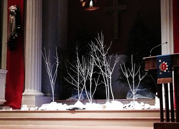 The sanctuary of FPC Lancaster, Pa., set up for its 2014 Blue Christmas service.