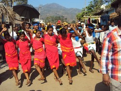 Adivasi dancers lead a procession at a seed ceremony in a village in the state of Andhra Pradesh. Groups from the Chethana network of Joining Hands came together for this agrarian festival.