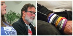 Erica Lafferty and Richard Martinez — each ringed bracelet on his wrist  bear the name of a child killed in school shootings.