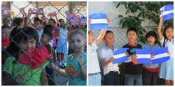 Children at a school run by a PC(USA) mission partner wave flags of welcome to group traveling with Voices from the Border and Beyond.