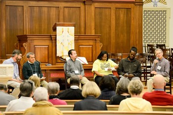 "Open panel discussion at New York Avenue Presbyterian Church entitled ""Diverse Voices: Collective Power."" Left to Right: Hunter Farrell, with World Mission, Conrado Oliviera, Danny Cendejas, Doreen Hicks, Blain Snipstal and Andrew Kang Bartlett with the Presbyterian Hunger Program."