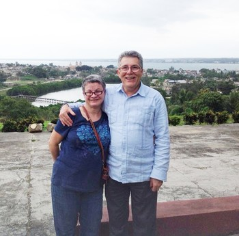 David Cortes-Fuentes and Josey Saez-Acevedo overlooking the Evangelical Theological Seminary in Mantanzas, Cuba.