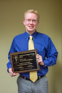 Patrick Heery, Presbyterians Today editor, with the 'Best In Class' award for denominational magazine of 2014.