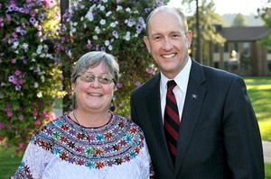 Leslie Vogel, PC(USA) mission co-worker in Guatemala, with Beck Taylor, president of Whitworth University.