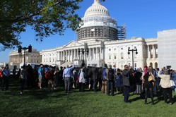 Participants of Ecumenical Advocacy Days gathered on Capitol Hill for prayer before meeting with their congressional representatives.