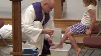 Maundy Thursday foot washing at West Plano (Texas) Presbyterian Church.