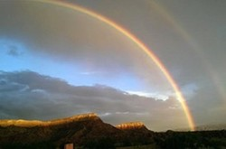 A double rainbow appeared over the Mesa immediately after the devastation from the July 7 storm.