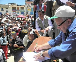 Dr. César Aliaga Díaz, vice-president of Peru's Cajamarca region, at a rally in 2011 opposing the opening of a massive new mine in the area.