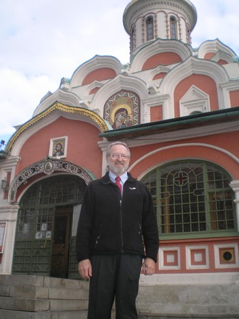 Gary Payton, standing in front of Kazan Cathedral, a Russian Orthodox Chapel  at one corner of Moscow's Red Square.