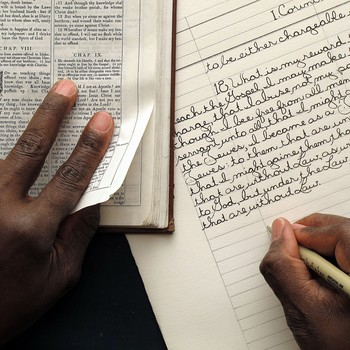 Phillip Patterson works on writing a section of 1 Corinthians.