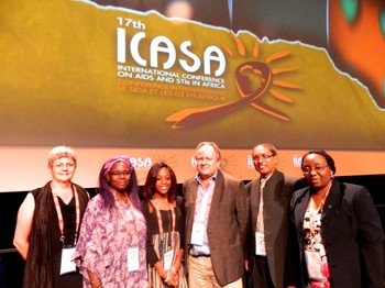 Lyn Van Rooyen, Nyambura Njoroge, Renier Koegelenberg, Milicah Shonga, Stephen Hendricks and Lilian Cheelo Siwila at the 17th ICASA in Cape Town.