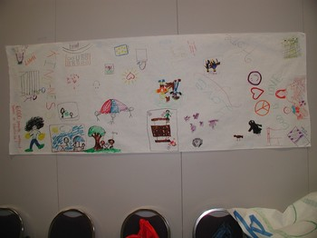 Presbyterian children visited with people at Wayside Christian Mission and drew a mural about their experience.