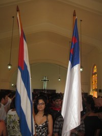 Cuban and Christian flags