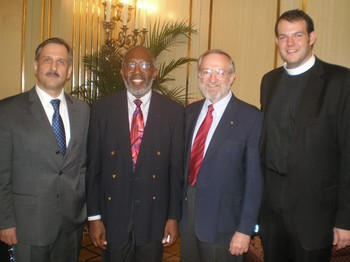 representatives of MPC's sponsoring denominations (left to right): Vladimir Shaporenko, United Methodist Church; Charles Jones, American Baptist Churches; Gary Payton, PC(USA), Pastor Matthew Laferty. Not pictured: Duncan Hanson, Reformed Church in America; Arden Haug, Evangelical Lutheran Church in America.
