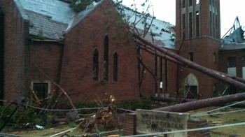 A tornado Feb. 10 damaged Westminster Presbyterian Church in Hattiesburg, MS, including the south side and lawn.