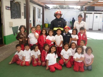 Firefighter and kids