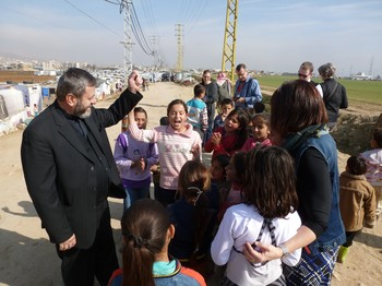 Christian leaders visited a refugee camp near Zahle, Lebanon.