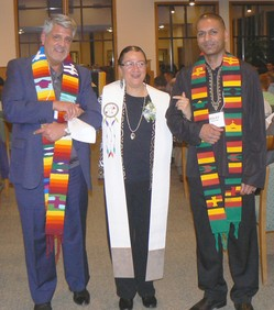 The Revs. David Maghakian, left, and Risley Prakasim, right, issued the charge to Ruling Elder Elona Street-Stewart, center, who became the first American Indian to be installed as a synod executive in the PC(USA).