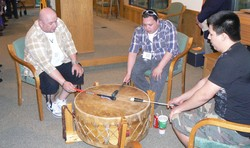 An American Indian drum group provided the music for the processional and recessional at the services of worship and installation at this week's meeting of the Synod of Lakes and Prairies.