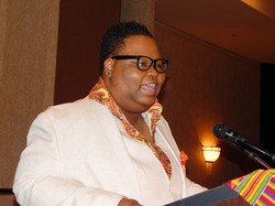 The Rev. Shanea Leonard speaks at the National Black Presbyterian Caucus.
