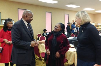 (Left to Right) Selma Jackson, National SDOP Committee chair; Edward Ducree of Emanuel African Methodist Episcopal Church; SDOP Coordinator Cynthia White; and Sara Lisherness, director of Compassion, Peace and Justice, at the recent SDOP National Committee meeting.