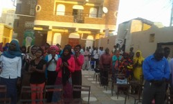 Members of the Sudan Presbyterian Evangelical Church pray for an end to attacks of church property.