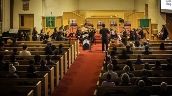 The Hwaum Boston Chamber Orchestra performs a fundraising concert at the Korean Church of Boston, PC(USA).