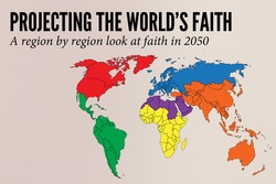 """Projecting the World's Faith: A region by region look at faith in 2050,"" Religion News Service graphic by Tiffany McCallen"
