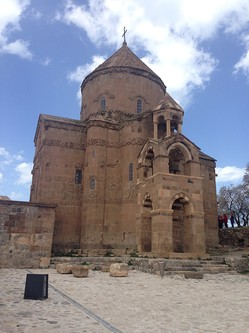 A closer view of the Armenian Church of the Holy Cross on Akdamar Island, Lake Van. It is one of the only Armenian sites the Turkish government has restored and a major attraction for diaspora Armenians who visit Turkey searching for signs of their heritage.