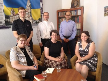 Paetzold, Beblawi, Smith and Morey of the PC(USA) meet with Bishop Sergey Maschewski and two pastors of the Lutheran Church in Odessa, Ukraine.