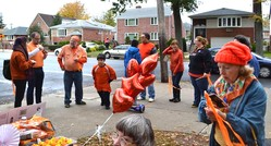 First Presbyterian Church members walk Whitestone neighborhoods as part of their Orange Day Weekend awareness effort