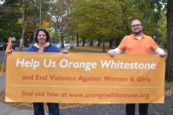 Members of First Presbyterian Church of Whitestone, take to neighborhood streets as part of their Orange Day Weekend- raising awareness about violence against women and girls