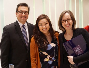 Frank Yamada, Christine Hong, and Nanette Sawyer prepare for their April 6, 2016 panel at the Presbyterian & Pluralist conference.