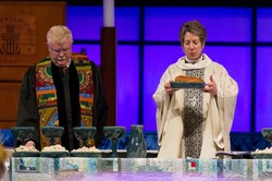 Bishop Katharine Jefferts Schori leads the Great Thanksgiving Prayer at the Ecumenical Service of Worship and Holy Communion at the 221st General Assembly (2014) of the PC(USA)in Detroit, MI, on Wednesday, June 18, 2014.