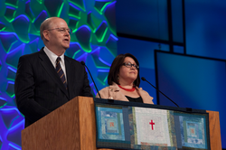 Cliff Kirkpatrick and Matilfe Moros give their report on the recommendations of the Commission on the Confession of Belhar at the 221st General Assembly (2014) in Detroit, MI on Sunday, June 15, 2014.