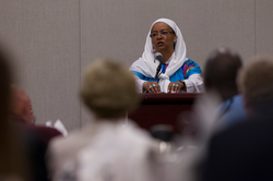 Basimah R. Abdullah speaks at the Ecumenical and Interfaith Breakfast at the 221st General Assembly (2014) of the PC(USA) in Detroit, MI on Wednesday, June 18, 2014.