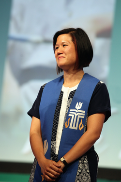 Larissa Kwong Abazia as vice-moderator of the 221st General Assembly in Detroit, MI on June 15, 2014