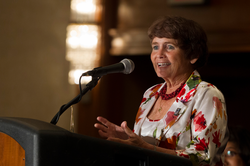 Joanie Lukins reflects on her accomplishments at the Women of Faith Awards Breakfast at the 221st General Assembly in Detroit, MI on Sunday, June 15, 2014.