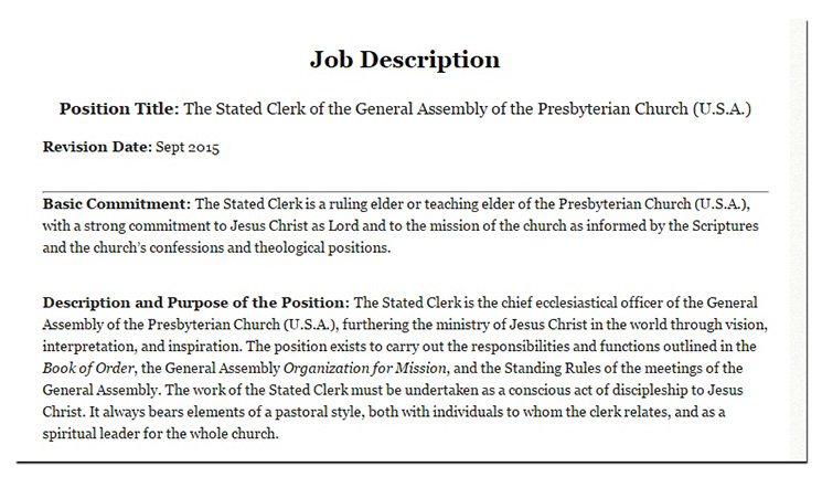Beginning of Stated Clerk job description, 2016