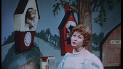 Josie Carey and Daniel Striped Tiger, 1960, from Motion Picture B233, Sunday on the Children's Corner.